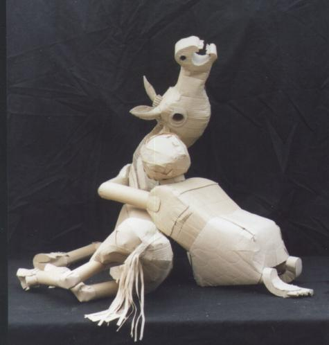Child and foal cardboard sculpture