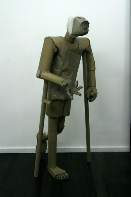 Crippled Civilian Casualty  cardboard sculpture