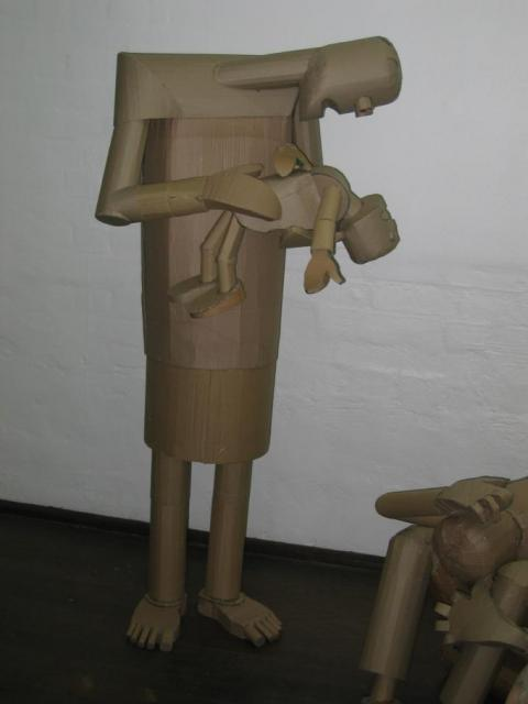 Mother and child cardboard sculpture