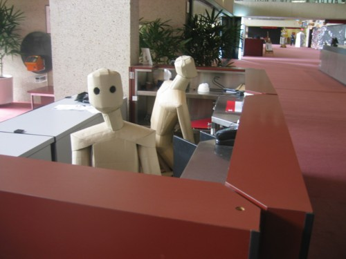 Cardboard sculpture in reception at QPAC