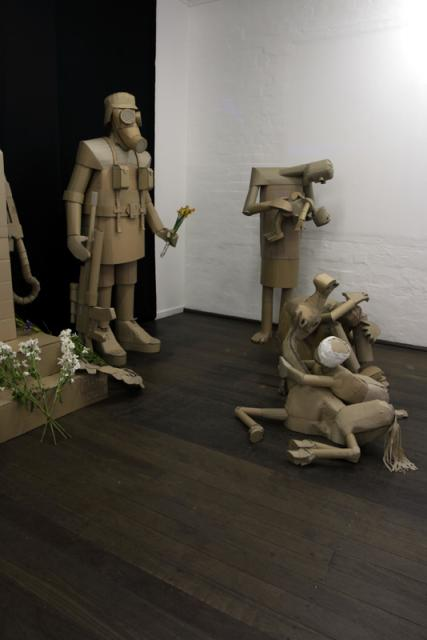 Soldier and Casualties cardboard sculpture